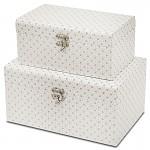 Krabička koženková bílá se srdíčky - hranatá malá