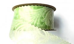 Vlizelínová stuha vintage 4cm/9m - sv.zelená