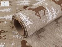 Jutová šerpa písková - vánoční s jelenem - 1 m