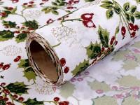 Jutová šerpa bílá vánoční - cesmína s glitry - 80 cm