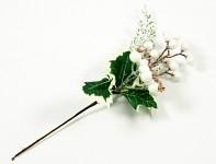 Zimní přízdoba s bílými třpytivými bobulemi - 25 cm
