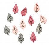 Dřevěné lístečky růžovo-šedé maxi  - 12ks