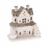 Vánoční domeček keramický se sněhulákem - svítící