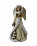 Anděl vánoční - bílo-stříbrný s peřím