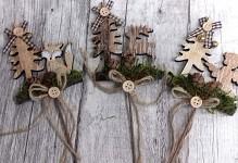 Dřevěný vánoční zápich - andílek, liška a sobík - mix 1ks