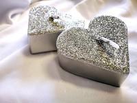 Plovoucí svíčka - srdce stříbrné třpytivé