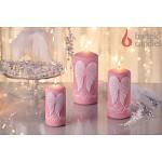 Svíčka válcová růžová - andělská křídla
