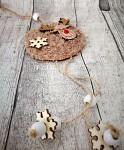 Dřevěný sob chlupatý - hnědý - 1ks