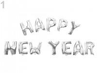 Foliový nápis stříbrný - HAPPY NEW YEAR