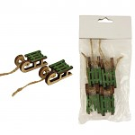 Sáňky dřevěné mini - zelené