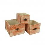 Dřevěný šuplík velký - bílo-oranžová patina