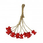 Andílek dřevěný mini červený - na provázku 1ks
