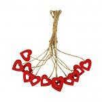 Srdíčko dřevěné na provázku - červené duté - 1ks