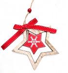 Dřevěná hvězda bílá - závěs