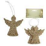 Ledová ozdoba anděl zlatý - 2ks