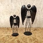 Anděl drátěný s plnými křídly - svícen - 60 cm