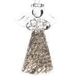 Skleněný anděl s bílou sukní - 9 cm