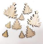 Dřevěné ozdoby - stromečky natur - 12ks
