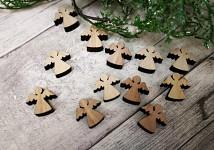Dřevěné ozdoby - andílci natur - 12ks
