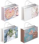 Vánoční dárková taška velká - podélná červená s glitry - mix