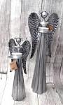 Anděl plechový stříbrný - svícen - 30 cm