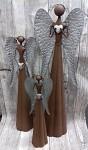 Anděl plechový se srdíčkem rezavo-stříbrný - 30 cm