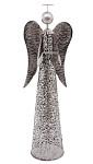 Anděl plechový bílý - svícen - 30 cm