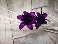 Lilie glitr - zápich - tm.fialová