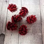 Šišky malé glitr - červené - 6 ks