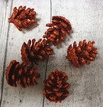 Šišky malé glitr - měděné - 6 ks