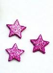 Hvězdička malá plochá - fuchsia glitter - 1ks