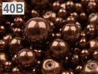 Voskované perly mix velikostí - hnědé