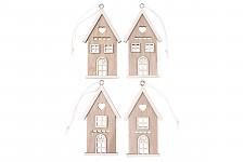 Dřevěné domečky bílé - mix velikostí - 6 ks