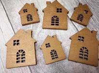 Dřevěné domečky zlaté - mix velikostí - 6 ks