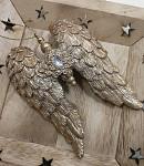 Dřevění andělé natur se zlatými křídly - 3 ks