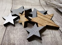 Dřevěné hvězdy hnědo-stříbrné - mix - 6 ks