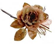 Růže s krajkou glitter - zlatohnědá