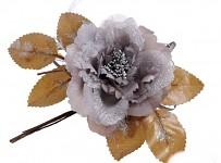 Růže s krajkou glitter - nafialovělá