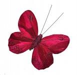 Motýli velcí zimní s glitry - 3 ks