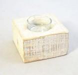 Svícen s dřevěnou podložkou kulatý - 1 ks