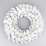Věnec šišky - bílý glitter 35 cm
