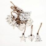 Dřevěná hvězdička bílá závěs - 1ks