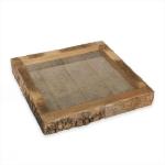 Dřevěný rustik tác čtverec - kůra - 20 cm