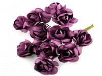 Růžičky papírové tm.fialové - 12ks