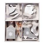 Dřevěné zimní dekorace bílo-stříbrné velké II. - 10ks