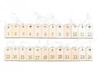 Adventní kalendář - dřevěné visačky - 24 ks