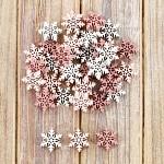 Vločky dřevo bílo-růžový mix - 12ks