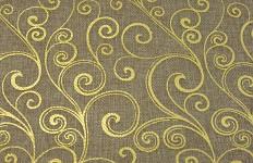 Jutová šerpa sv.hnědá - zlaté ornamenty - 3m