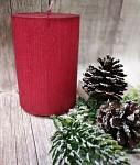 Svíčka rustikální drápaná - červená - 10cm
