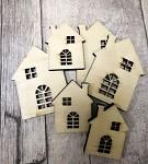 Dřevěné domečky natur - mix velikostí - 6 ks